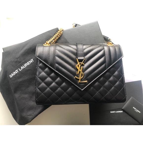 921ce4e4c5f Yves Saint Laurent Bags | Ysl Medium Envelope Bag Black Gold | Poshmark